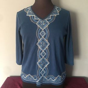 ❤️Alfred Dunner Beaded 3/4 Sleeve Top